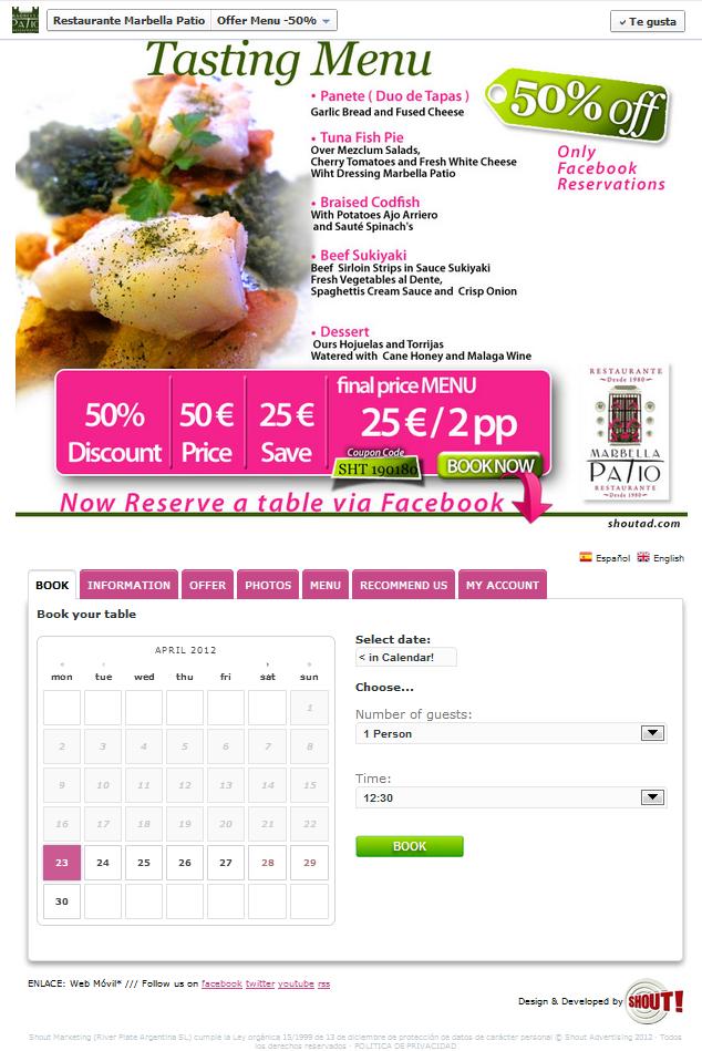 Reservas de Mesas Facebook Restaurantes en Madrid