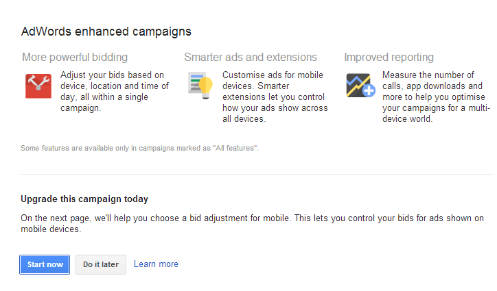 Online Marketing with Google Adwords Enhanced Campaign